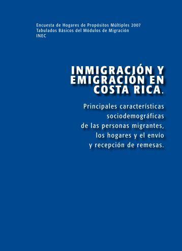 InmIgracIón y emIgracIón en costa rIca. - Instituto Nacional de ...