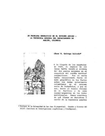 la toponimia quechua del departamento de nariño, colombia