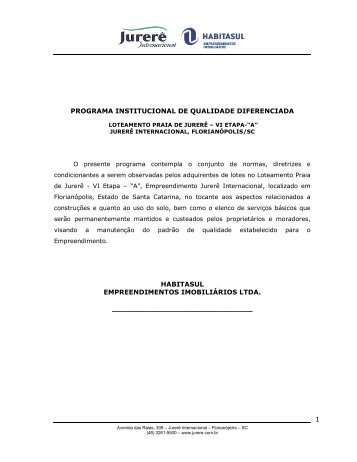 Normas Etapa Amoraeville A - Jurerê Internacional