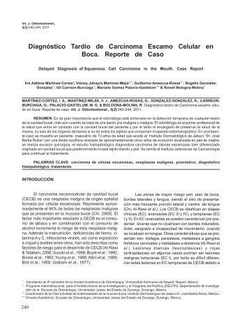 Diagnóstico Tardío de Carcinoma Escamo Celular en ... - SciELO