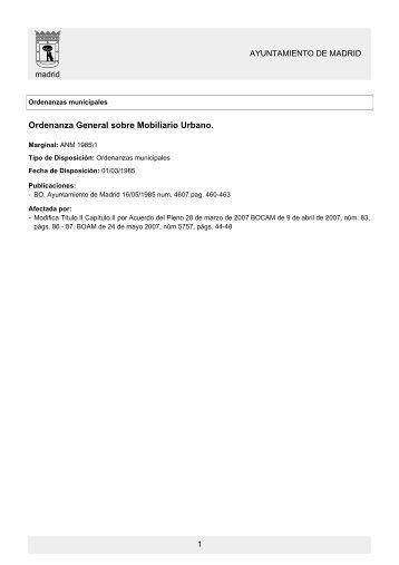 Ordenanza General sobre Mobiliario Urbano. - admifin.es