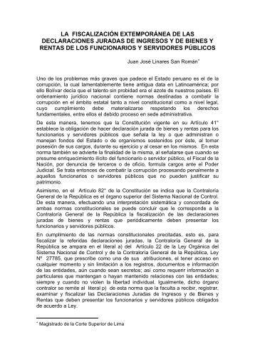 la fiscalizacin extempornea de las declaraciones juradas de ...