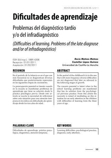 Dificultades de aprendizaje. Problemas del diagnostico tardío y