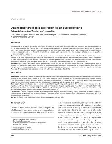 Diagnóstico tardío de la aspiración de un cuerpo ... - edigraphic.com