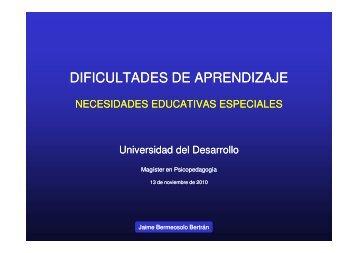 DIFICULTADES DE APRENDIZAJE - Facultad de Educación y ...