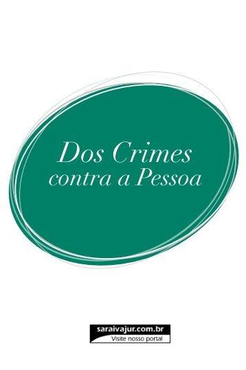 Dos Crimes contra a Pessoa - Editora Saraiva