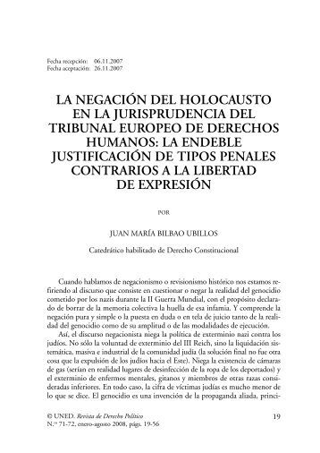 la negación del holocausto en la jurisprudencia ... - e-Spacio - UNED