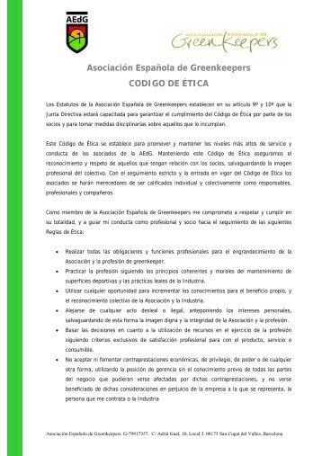 Código de ética - Asociación Española de Greenkeepers