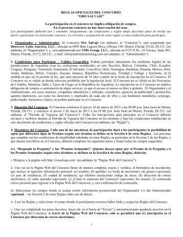 """REGLAS OFICIALES DEL CONCURSO """"ORO SALVAJE"""" La ..."""