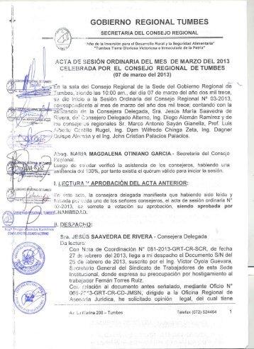 Acta de Sesión Ordinaria Nº 003 - Gobierno Regional TUMBES
