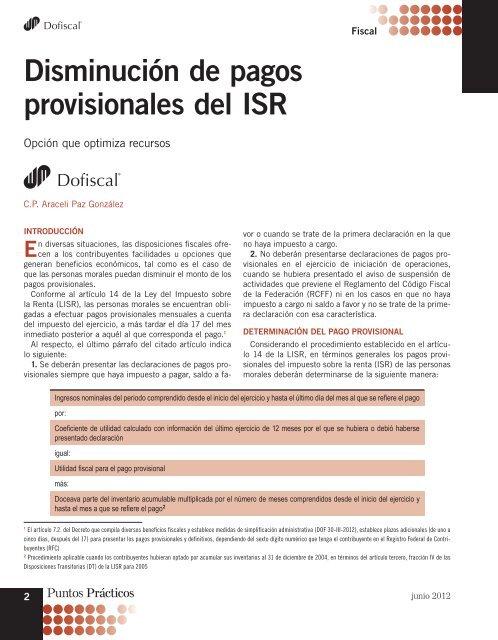 perdidas fiscales en pagos provisionales