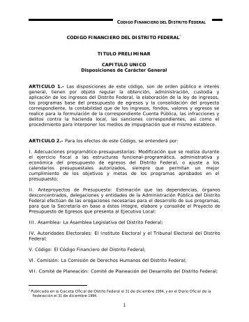 CODIGO FINANCIERO DEL DISTRITO FEDERAL* - PAOT