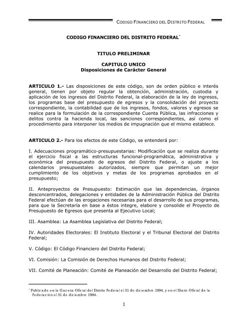 Codigo Financiero Del Distrito Federal Paot