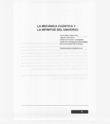 LA MECÁNICA CUÁNTICA y LA INFINITUD DEL ... - Cosmofisica