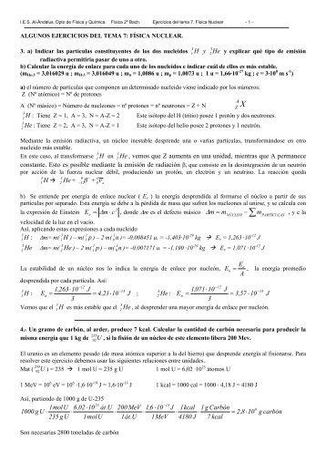Ejercicios de física nuclear - IES Al-Ándalus
