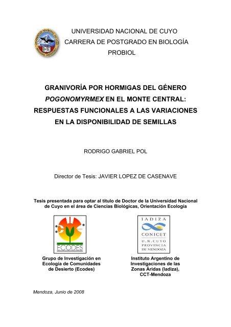 Granivoría Por Hormigas Del Género Pogonomyrmex En El Monte