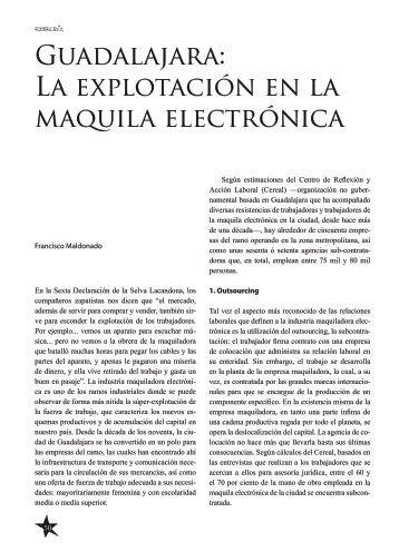 Guadalajara: La explotación en la maquila electrónica
