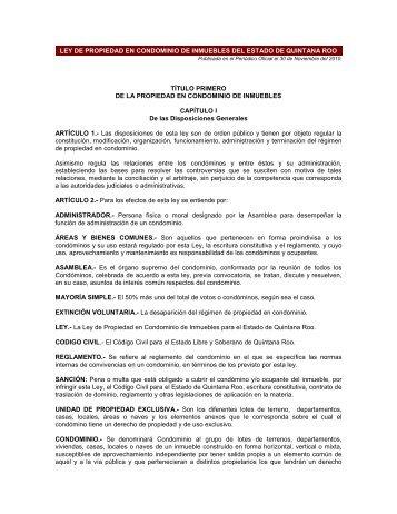 Ley de Propiedad en Condominio de Inmuebles del - Colegio de ...