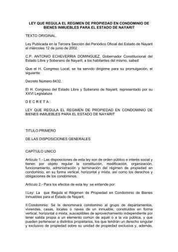 LEY QUE REGULA EL REGIMEN DE PROPIEDAD EN ...