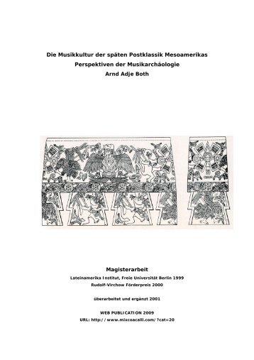Die Musikkultur der späten Postklassik Mesoamerikas Perspektiven ...
