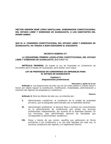 ley de propiedad en condominio de inmuebles para el estado de ...