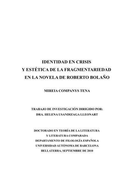 Identidad En Crisis Y Estética De La Fragmentariedad En La