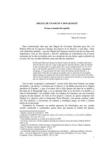 Miguel de Unamuno y Don Quijote. - Asociación de Academias de ...