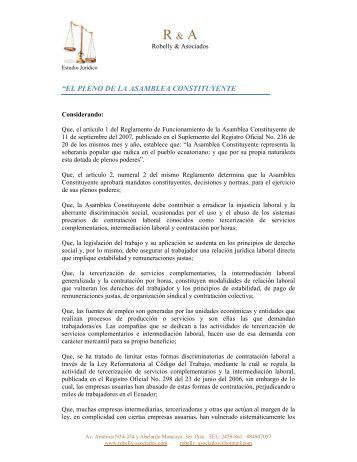 Fin de la Tercerización Laboral - Robelly & Asociados