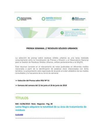 prensa semanal nº 51 - Secretaría de Ambiente y Desarrollo ...