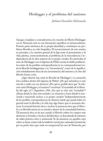 Heidegger y el problema del nazismo