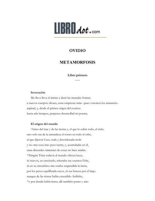Ovidio Metamorfosis