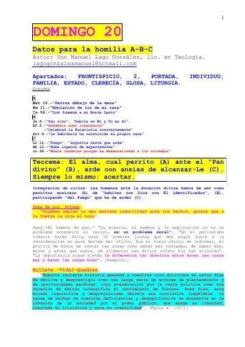 XX Domingo del Tiempo Ordinario, Ciclos A, B y C - Autores Catolicos