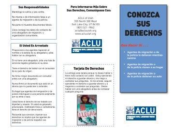 CONOZCA SUS DERECHOS - ACLU of Utah