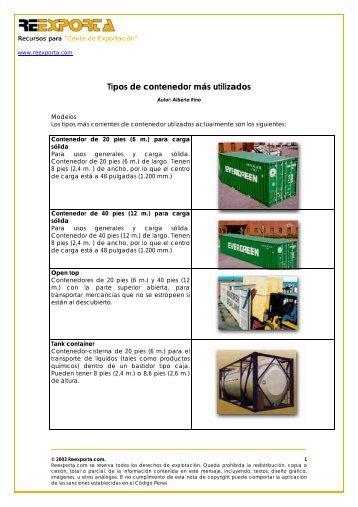 Tipos de contenedores más utilizados