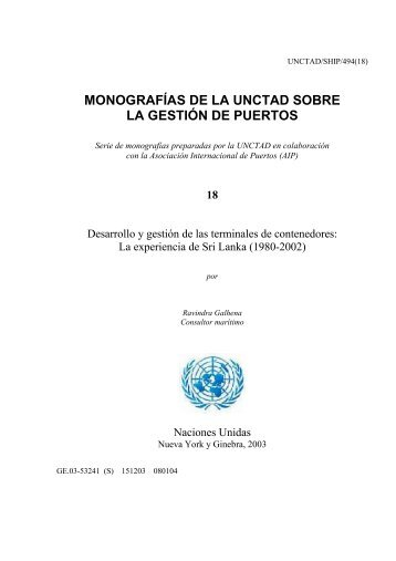 MONOGRAFÍAS DE LA UNCTAD SOBRE LA GESTIÓN DE PUERTOS