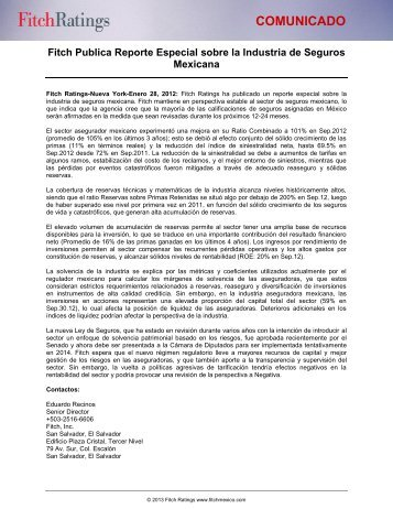 Reporte Especial sobre la Industria de Seguros ... - Fitch México