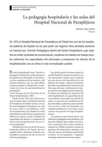 La pedagogía hospitalaria y las aulas del Hospital Nacional de ...