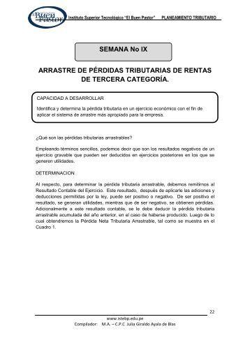 ARRASTRE DE PÉRDIDAS TRIBUTARIAS DE ... - IST Buen Pastor