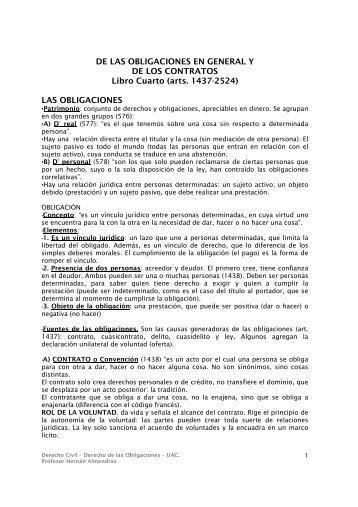 DE LAS OBLIGACIONES EN GENERAL Y DE LOS CONTRATOS ...