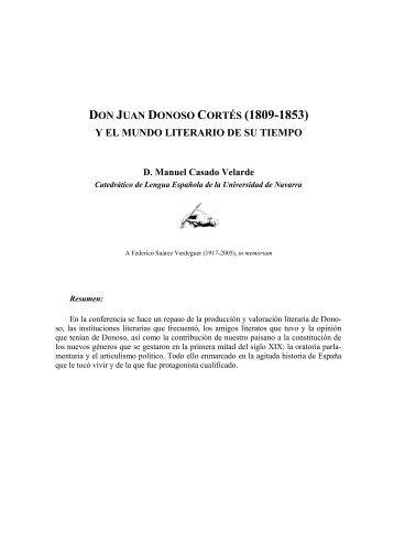 DON JUAN DONOSO CORTÉS (1809-1853) - Universidad de Navarra
