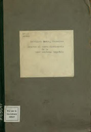 Reparos al nuevo diccionario de la Academia Española