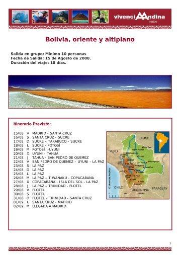 Bolivia, oriente y altiplano - Viajes Vivencia Andina - Viajes a ...
