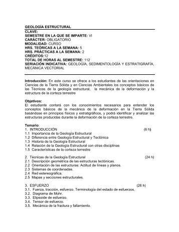 geología estructural clave - Centro de Geociencias ::.. UNAM