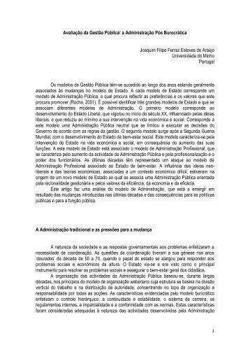 Avaliação da Gestão Pública: a Administração Pós Burocrática ...