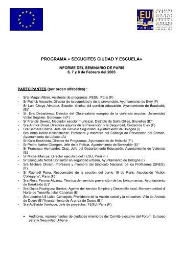 programa « secucites ciudad y escuela - European Forum for Urban ...