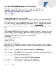 PRESSE-INFORMATION 1899 HOFFENHEIM