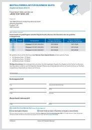 Bestellformular Business Seats Saison - 1899 Hoffenheim