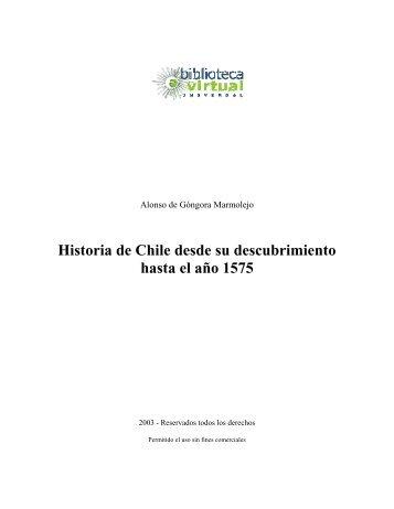 Historia de Chile desde su descubrimiento hasta el año 1575