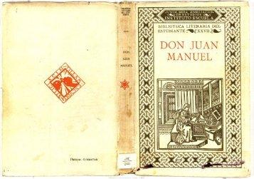 DON JUAN MANUEL : - Biblioteca Tomás Navarro Tomás
