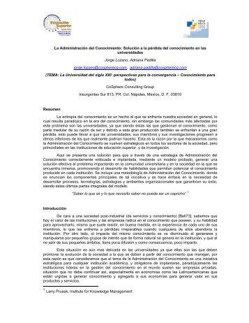 La Administración del Conocimiento - Repositorio Digital UNAM